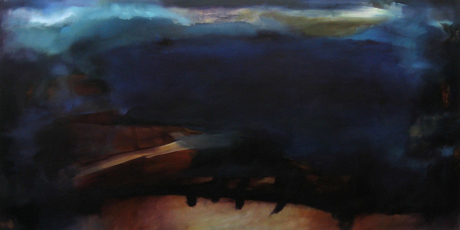 Raja, öljy levylle, 122 x 240 cm, 2009
